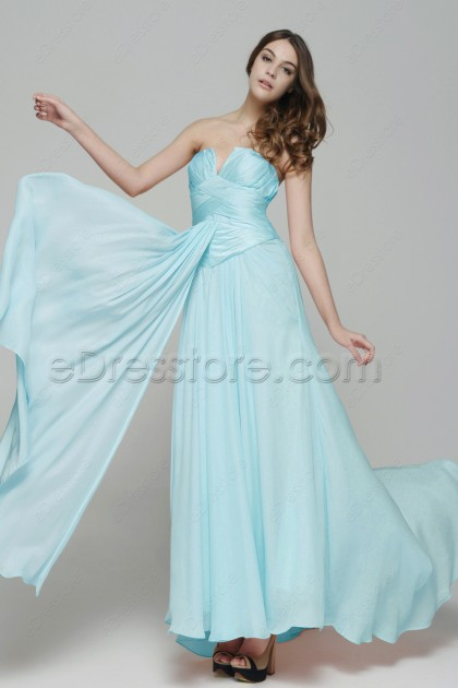 Notched Neckline Frozen Blue Long Prom Dresses with Train