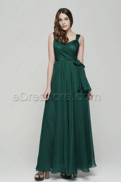 Dark Green Evening Dress with Straps Bridesmaid Dresses