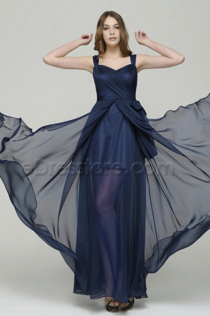 Navy Blue See Through Long Prom Dresses with Wide Straps