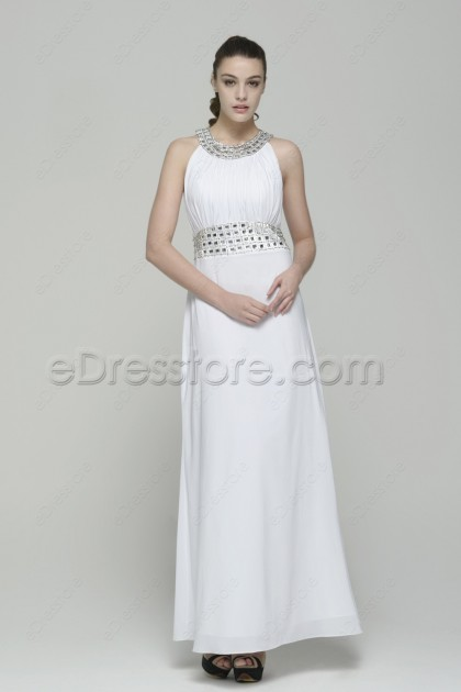 Modest Crystals White Prom Dresses Long