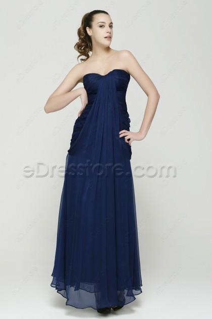 Sweetheart Trumpet Long Navy Blue Prom Dresses