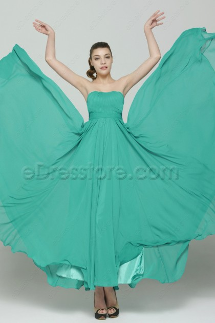 Green Flowing Long Bridesmaid Dresses Dipped Neckline