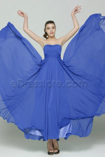Flowing Chiffon Royal blue Formal Dresses Long
