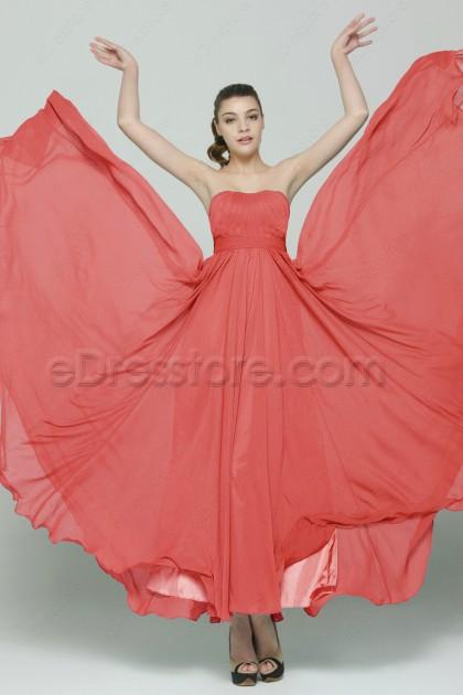 Simple Elegant Strapless Long Coral Prom Dresses