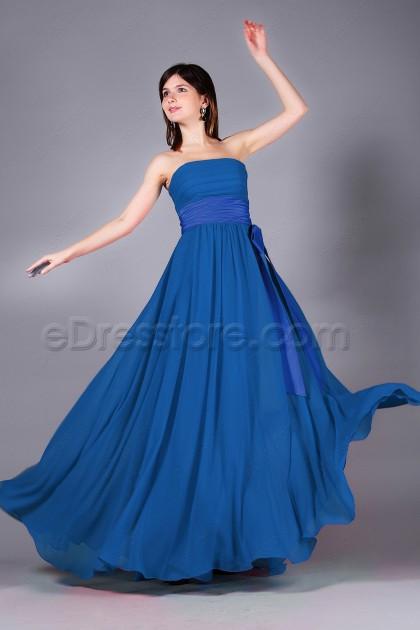 Strapless Royal Blue Long Prom Dresses