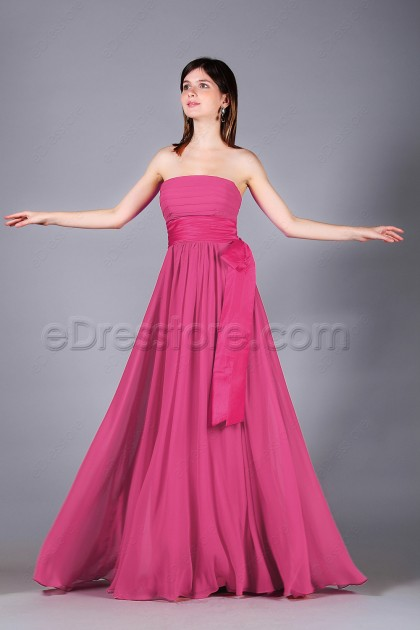 Hot pink bridesmaid dresses with bow and ribbon