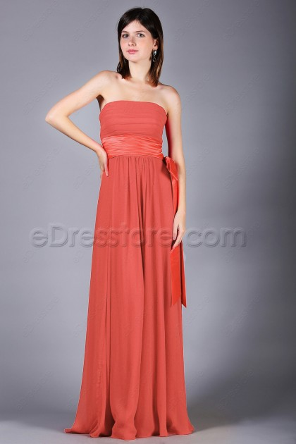 Strapless Coral Chiffon Bridesmaid Dresses with Bow