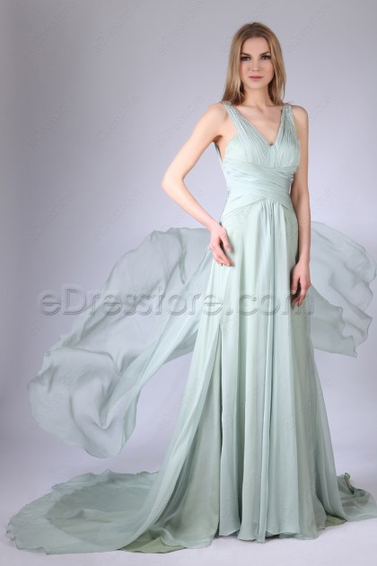 Crystals Pale Green Prom Dresses Long with Train