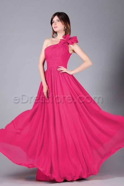 One Shoulder Hot Pink Long Prom Dresses