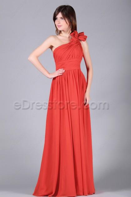 One Shoulder Coral Formal Dresses Long