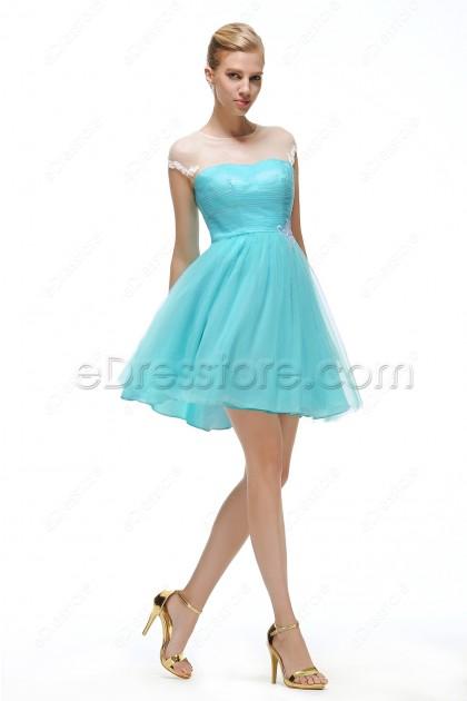 Aqua Blue Short Prom Dresses with White Lace
