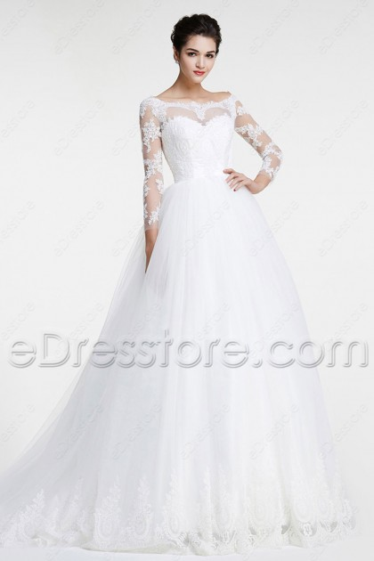 Modest Off the Shoulder Lace Wedding Dress Long Sleeves