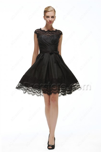 Scalloped Black Backless Short Prom Dresses for Homecoming