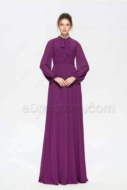 Berry Color Modest Mother of the Bride Dress Long Sleeves