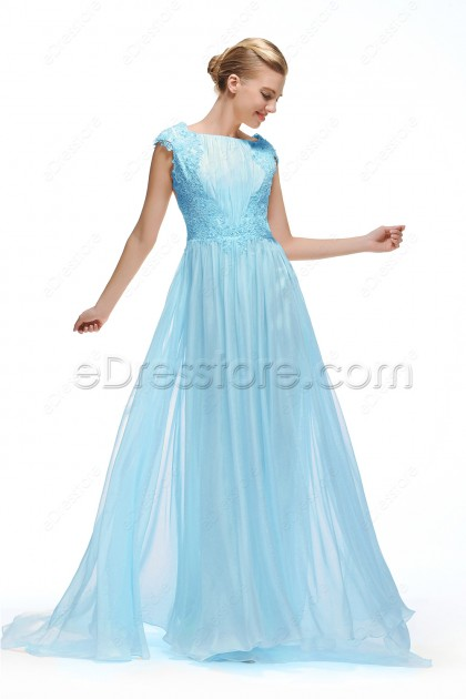 Light Blue Backless Prom Dress Cap Sleeves