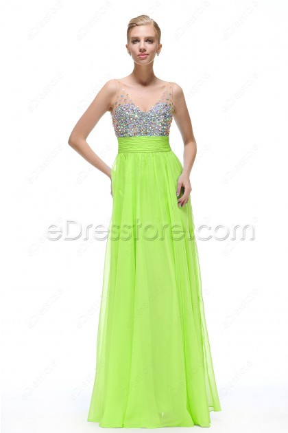 Bright Green Sparkle Crystal Prom Dresses Long