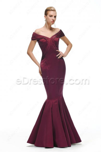 Off the Shoulder Burgundy Mermaid Evening Gown