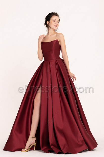 Burgundy Pageant Slitted Prom Dresses Long