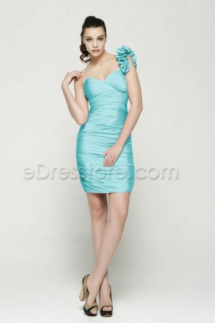 One Shoulder Sheath Ice Blue Short Prom Dresses