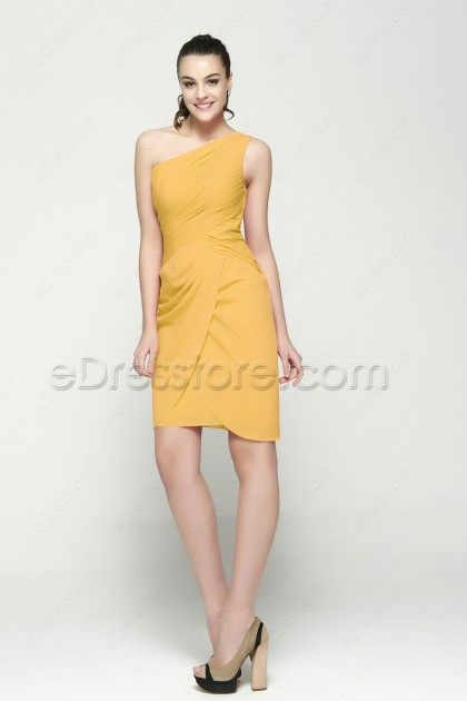 One Shoulder Yellow Cocktail Dresses