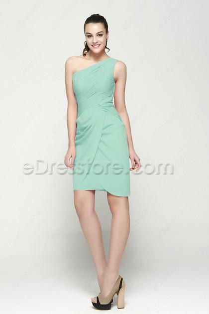 One Shoulder Mint Green Short Prom Dresses