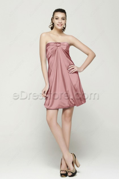 Strapless Dusty Rose Bridesmaid Dresses
