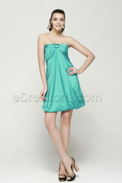 Mint Green Strapless Short Homecoming Dresses