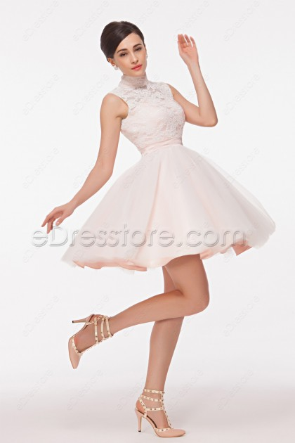 Modest High Neck White Short Prom Dresses Key Hole Back