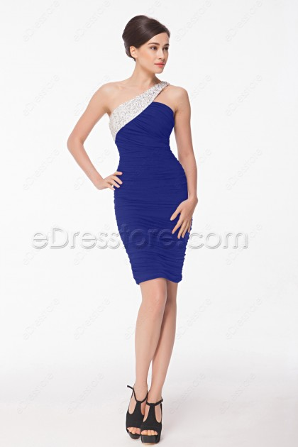 Crystals Beaded Royal Blue Sheath Short Prom Dresses
