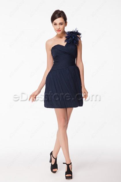 One Shoulder Navy Blue Cocktail Dresses