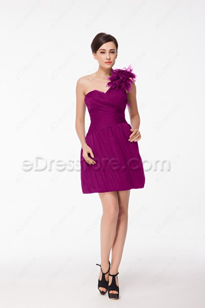 One Shoulder Chic Magenta Homecoming Dresses