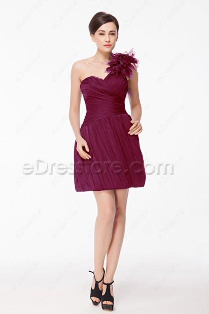 One Shoulder Chic Burgundy Short Prom Dresses