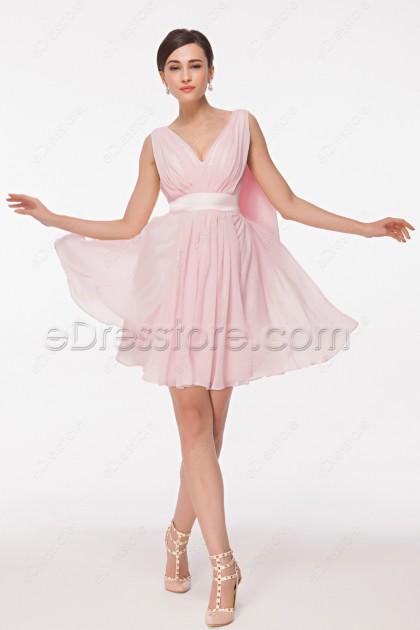 V Neck Pink Short Prom Dresses