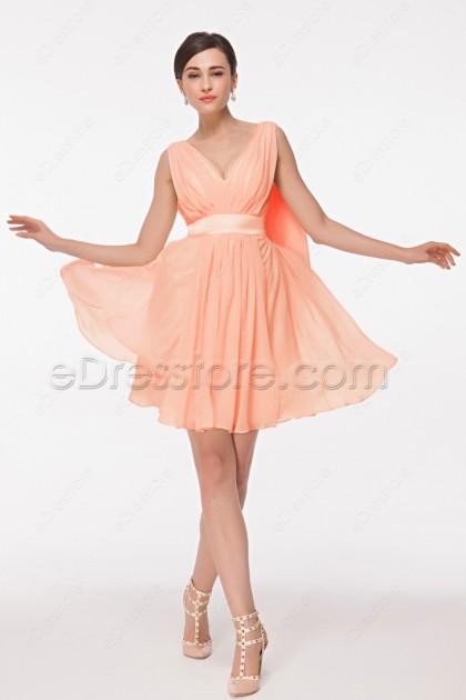 V Neck Peach Color Bridesmaid Dresses Knee Length
