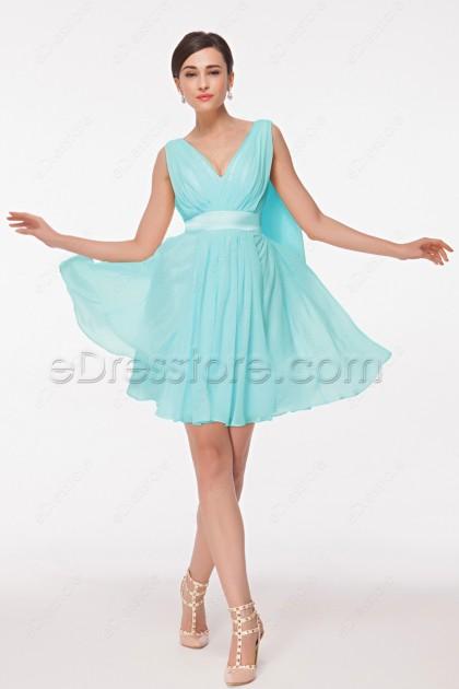 V Neck Ice Blue Homecoming Dresses