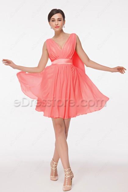 Short Coral Bridesmaid Dresses for Summer Wedding