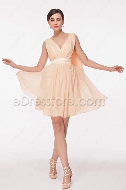 V Neck Light Peach Cocktail Dresses