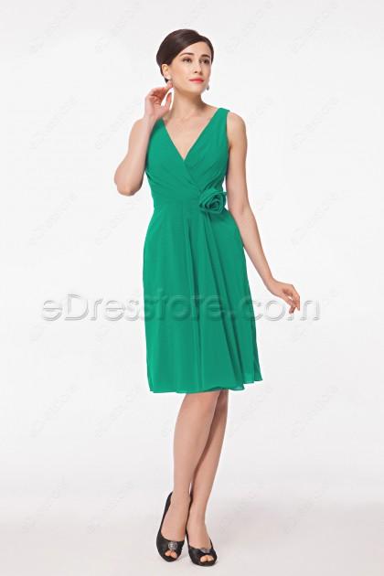 Simple V Neck Green Short Prom Dresses
