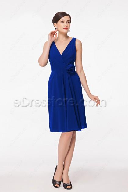 V Neck Royal Blue Cocktail Dresses Knee Length