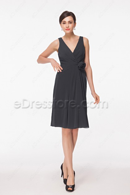Charcoal grey Bridesmaid Dresses Knee Length