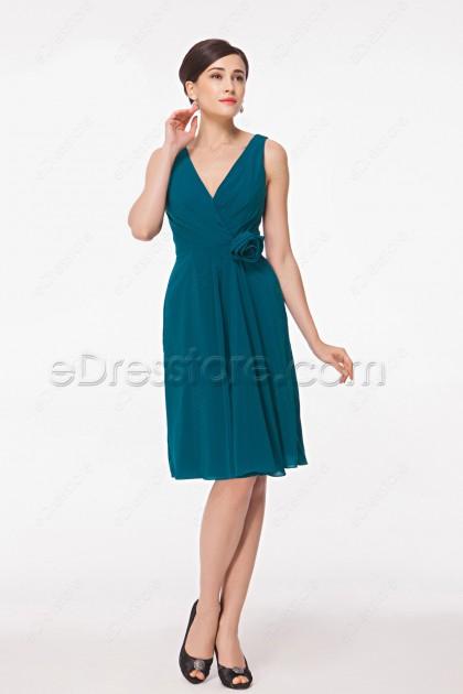 V Neck Teal Homecoming Dresses Knee Length