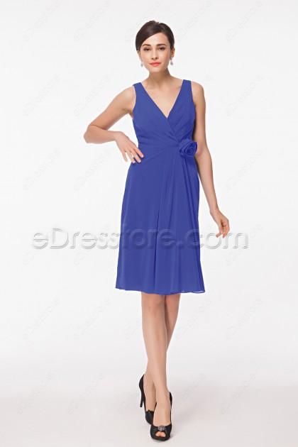 Cornflower Blue Bridesmaid Dresses Short
