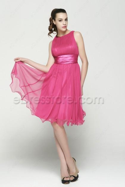Hot Pink Modest Junior Bridesmaid Dresses Tea Length