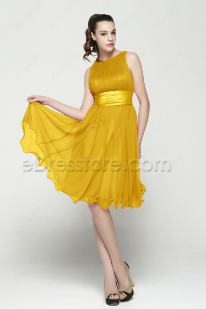 Modest Gold Tea Length Cocktail Dresses
