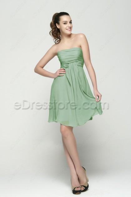 Strapless Sage Green Summer Bridesmaid Dresses Knee Length
