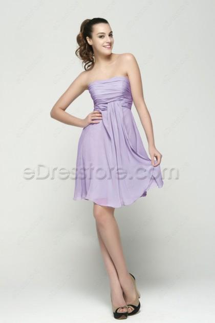 Strapless Lavender Homecoming Dresses