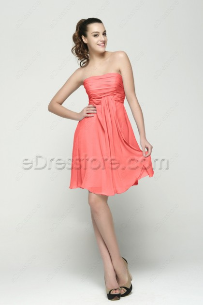 Coral Short Bridesmaid Dresses for Beach Wedding