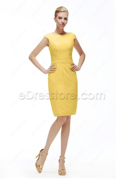 Yellow Modest homecoming dresses Cap Sleeves