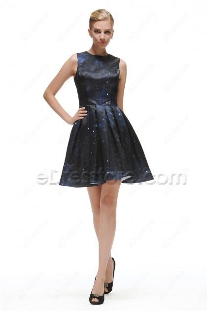 Mid Night Blue Backless Prom Dresses Short