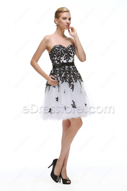 White Short Prom Dress with Black Lace